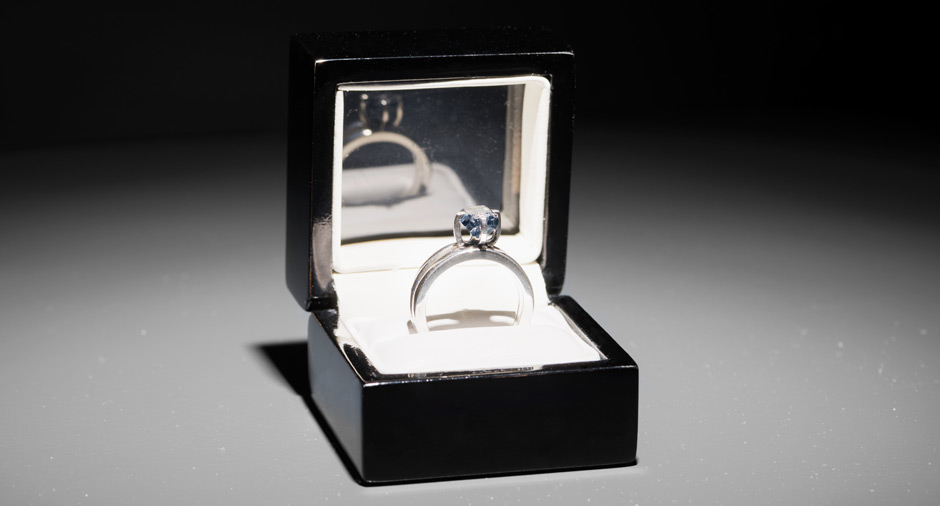 """Jill Magid, The Proposal , 2016. 2.02 carat, blue, uncut, diamond with the micro-laser inscription """"I am wholeheartedly yours,"""" silver ring setting, ring box, related documents. Image credit: Gregory Goode."""