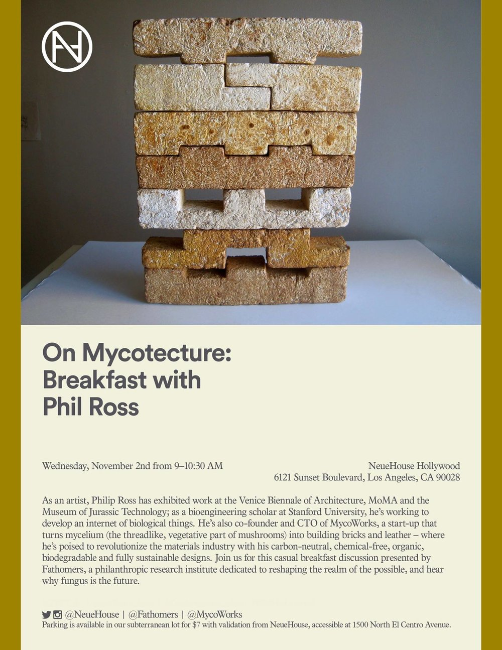 "Mycoworks, ""Fungus Brick"". Fungal mycelium. Image courtesy of Mycoworks."