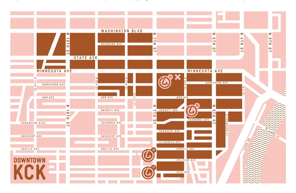 Downtown KCK neighborhood map,  SmellScape KCK/KCMO , 2012.(design © Novamondo)