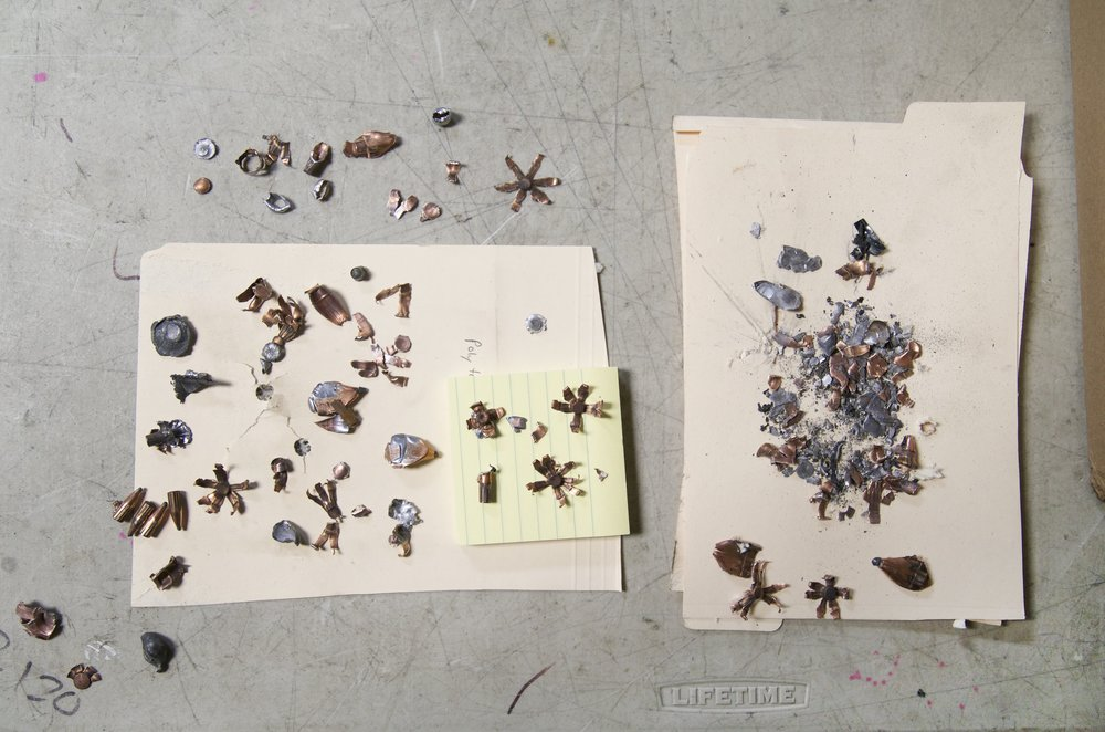 Collision fragments of AK-47 and M16 projectiles, 2015