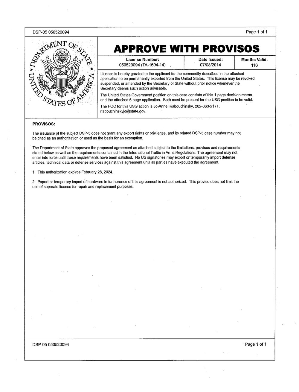 Approval of DSP-5 license by the U.S. Department of State, 2014