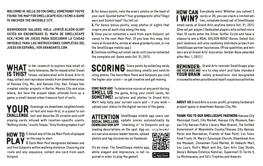 Game play rules,  Smellscape KCK/KCMO , Grand Arts, 2012. (design: © Novamondo)