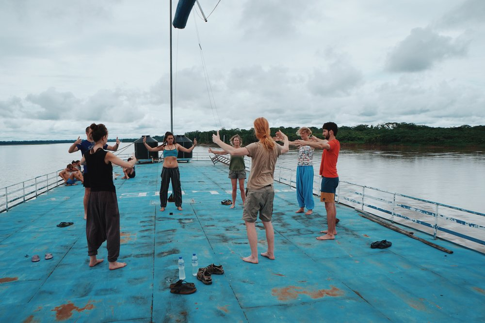 Qigong lead by fellow traveller, John from England.