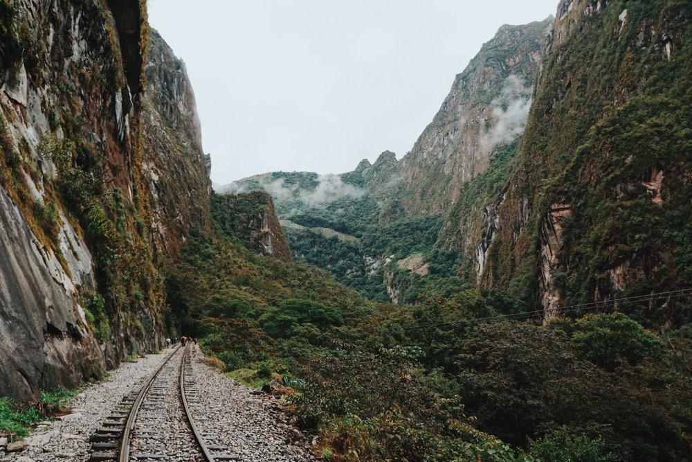 Hiking through the jungle along the train tracks to Aguas Calientes.