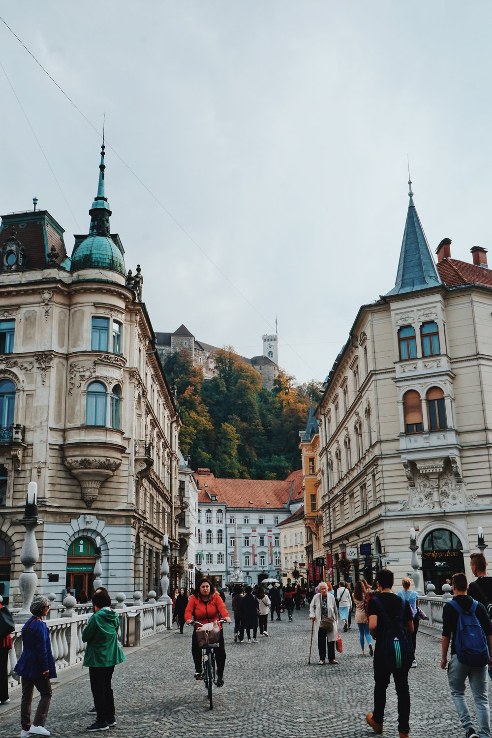 The view through Ljubljana Old Town, looking up to Ljubljana Castle.