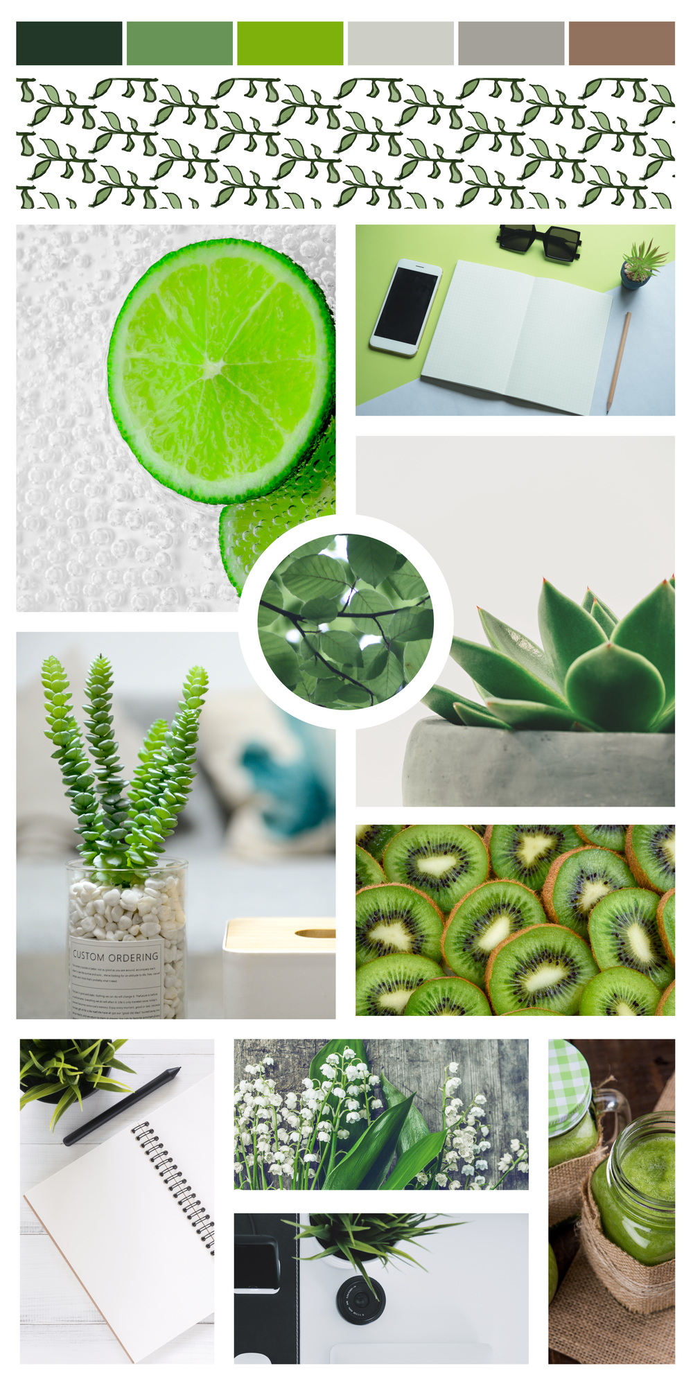 Healthy brand inspiration. Health mood board. Green natural mood board. Green brand design.
