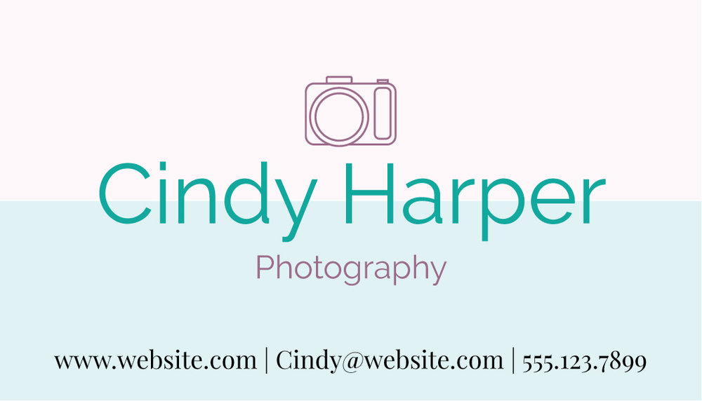 Brand identity design for photographer. Business card for photography business.