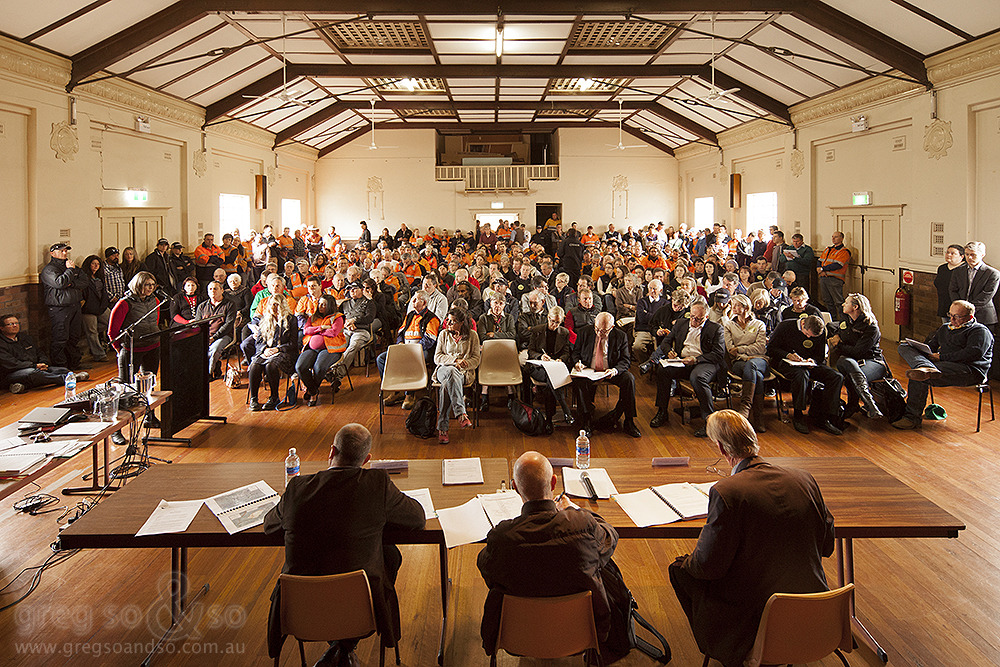 Drayton South Mine expansion PAC hearing in Denman Town Hall, NSW