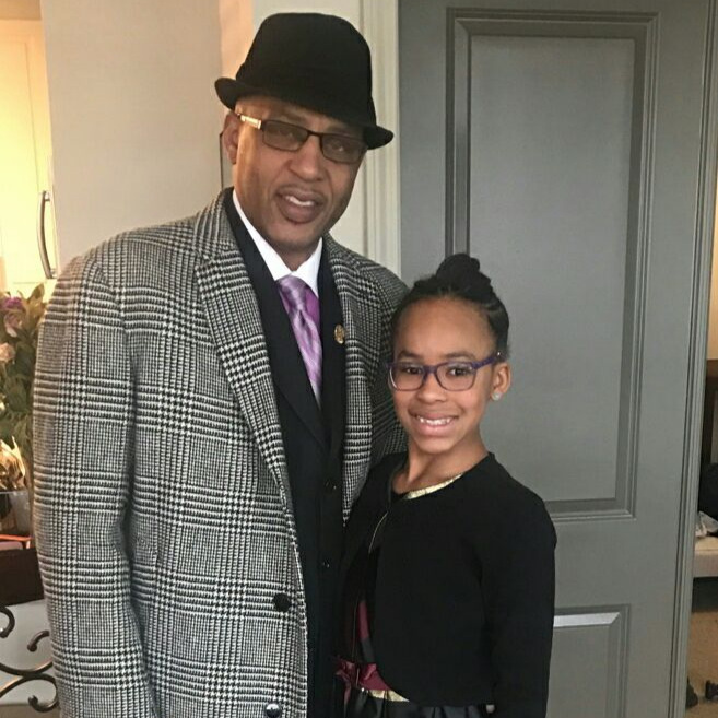 Kamaria and her dad headed to church