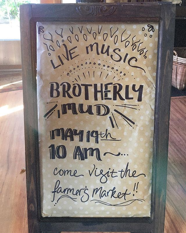 Live Music!!✌🏼 Come visit the farmers market on May 19th and enjoy the sunshine and @brotherlymudband tunes on our patio! ☀️