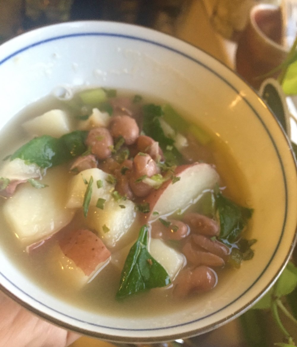 Mineral-rich soup: Yum!   Did you know that common beans (like pintos)and potatoes are both originally from Peru? It's true!