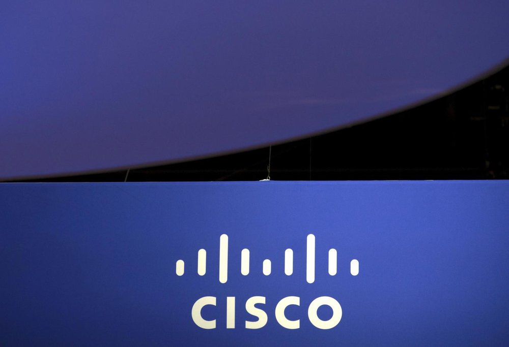 The Cisco Systems logo is seen as part of a display at the Microsoft Ignite technology conference in Chicago, Illinois, May 4, 2015.