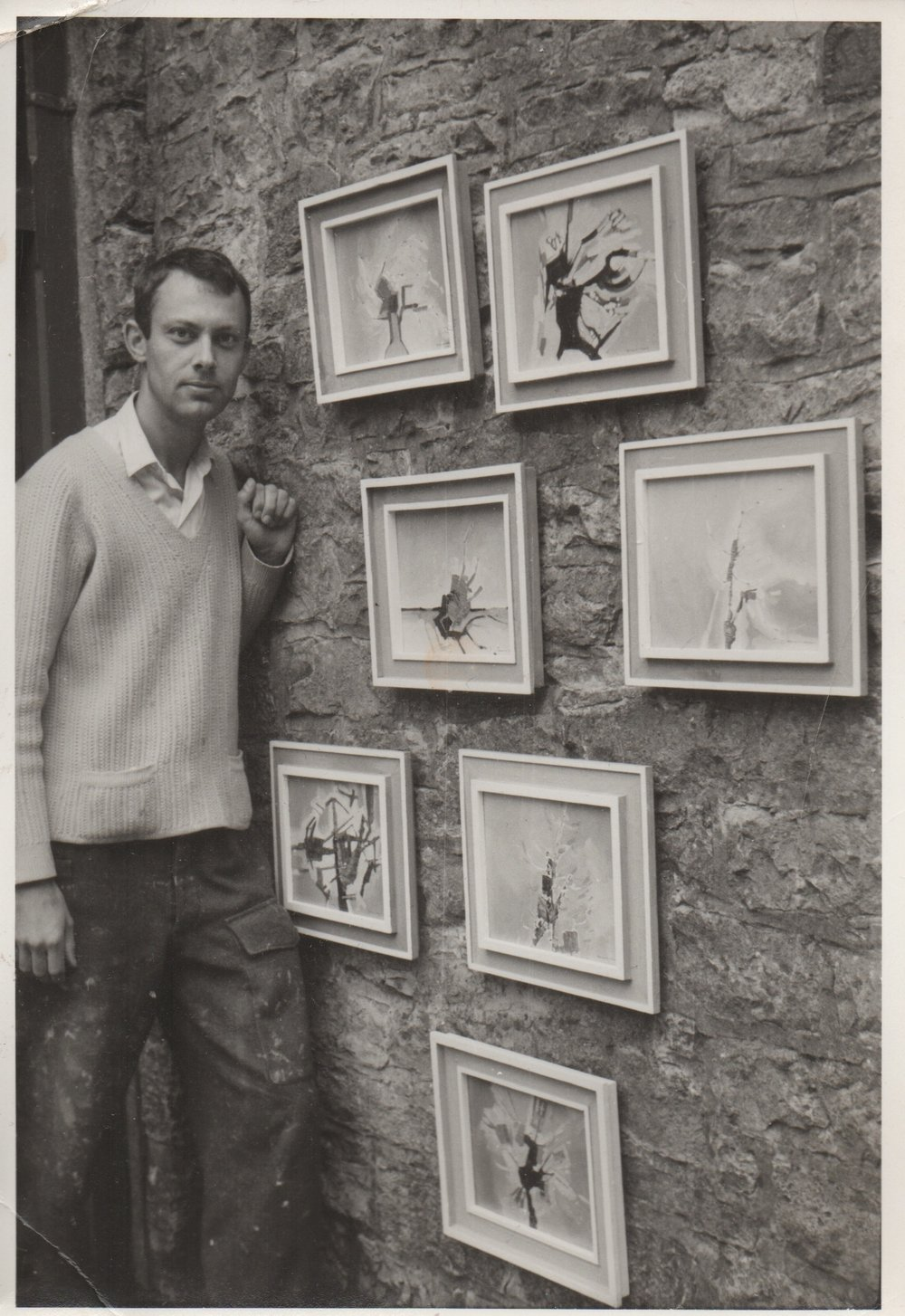 Robert Genn with his early abstracts at Bradbourne near Ashbourne, Derbyshire, England circa 1965.
