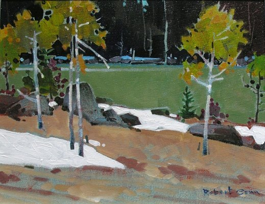 Shore Island From The Funnel, Lake Of The Woods, Ontario, 11 x 14 inches, acrylic on canvas, 2011 @mayberryfineart #robertgenn #canadianart