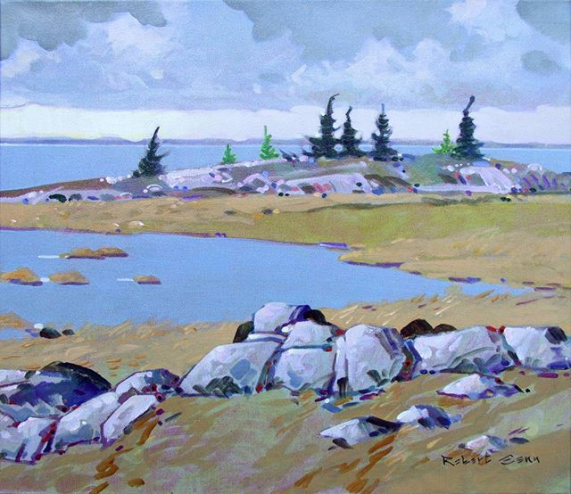 Peninsula, Parry Sound, Ontario, 16 x 18 inches, acrylic on canvas, 1991 @mayberryfineart #robertgenn #canadianart