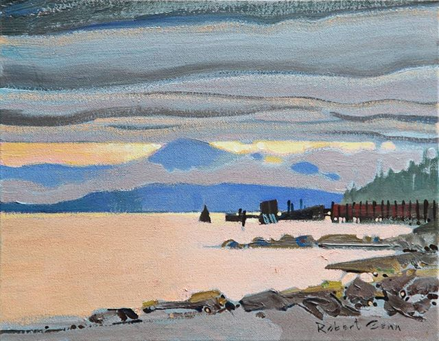 Waiting For The Ferry, North Pender Island, BC October 1992, 11 x 14 inches, acrylic on canvas @mayberryfineart #robertgenn #canadianart #gulfislands