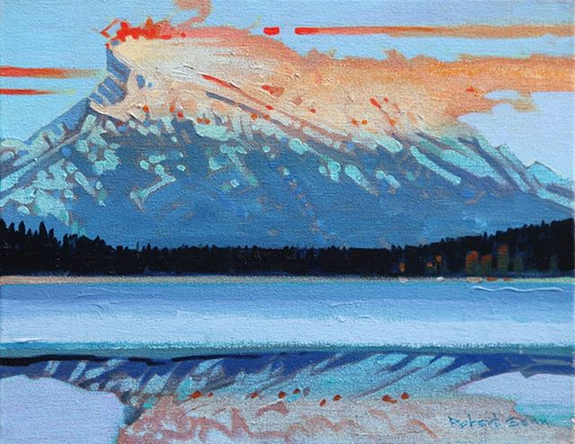Mt. Rundle Pyrotechnics (2004), 11 x 14 inches, acrylic on canvas  @ch_gallery #canadahousegallery #robertgenn #canadianart