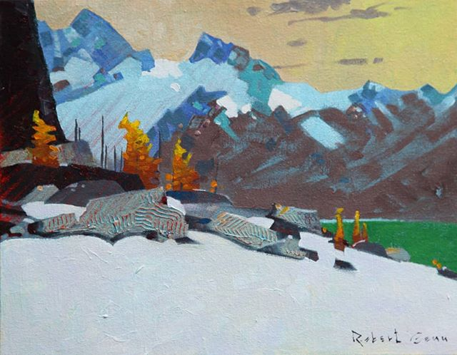 An Aspect Above Lake McArthur (2014), 11 x 14 inches, acrylic on canvas @westendgallery #yohonationalpark #lakeohara #robertgenn #canadianart