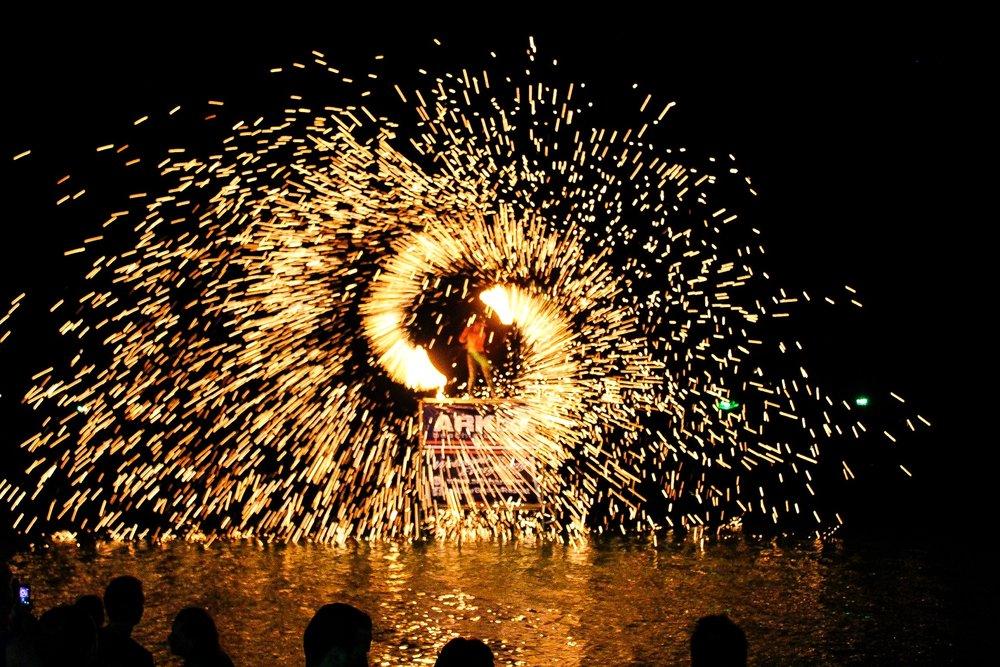 fireworks on ropes