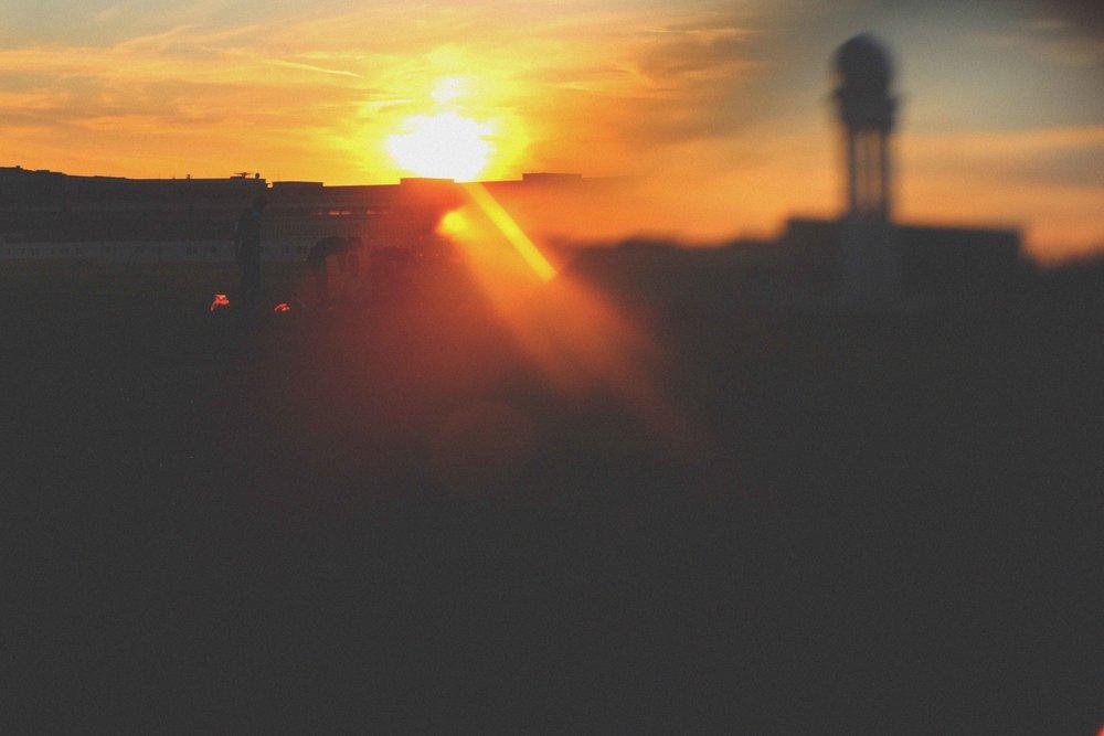 Beautiful sunset at Templehof