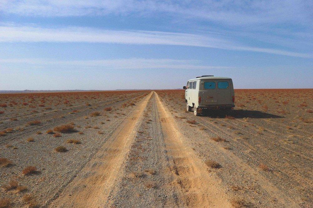 Dirt tracks across the Gobi