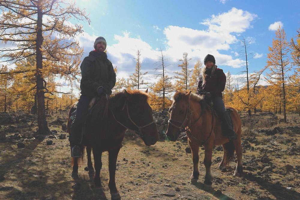 Horse riding to the extinct volcano