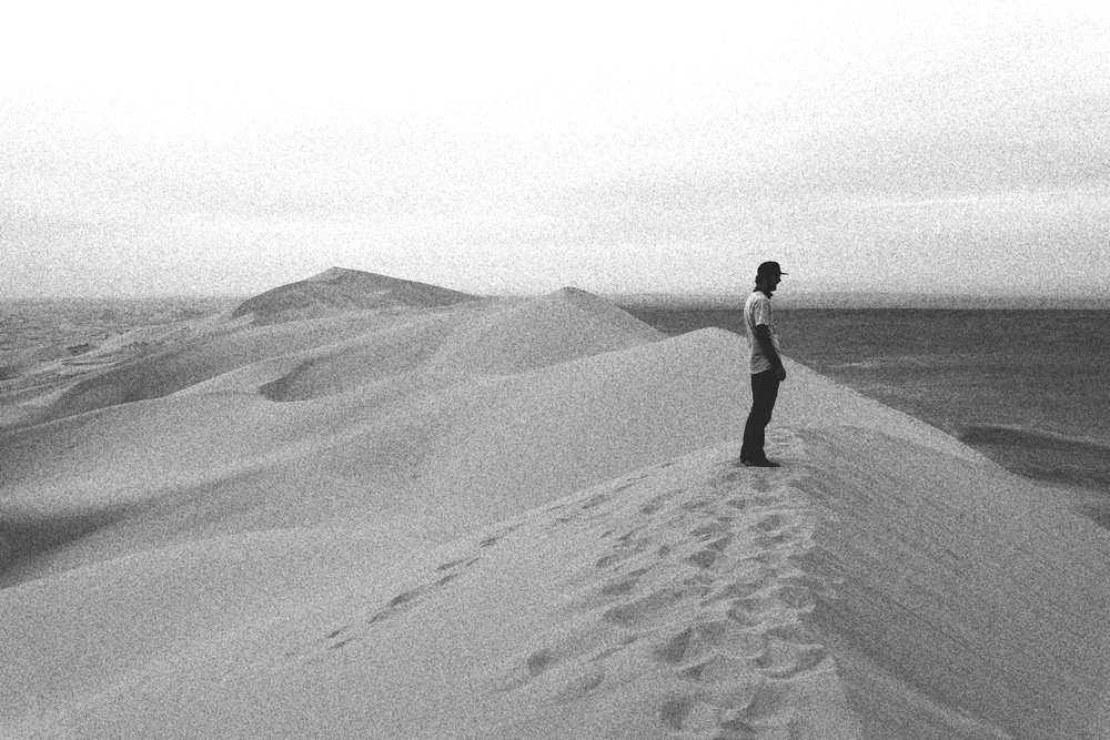 The Khongor sand dunes in black and white