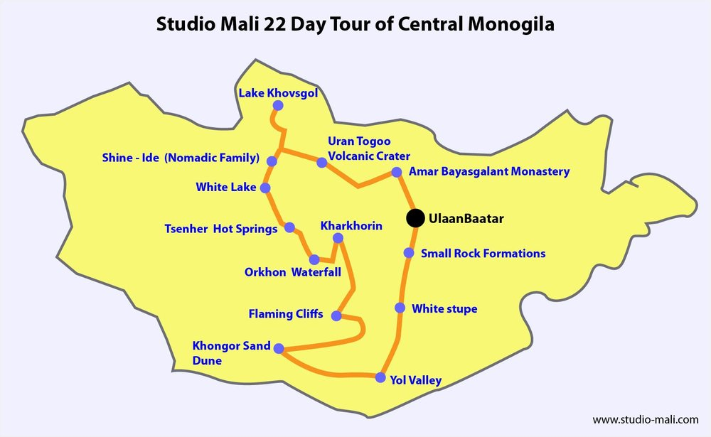 Map Of Our Mongolia Tour