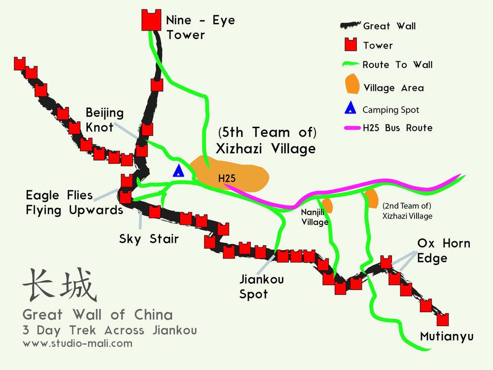Great Wall of China, Jiankou trekking routes