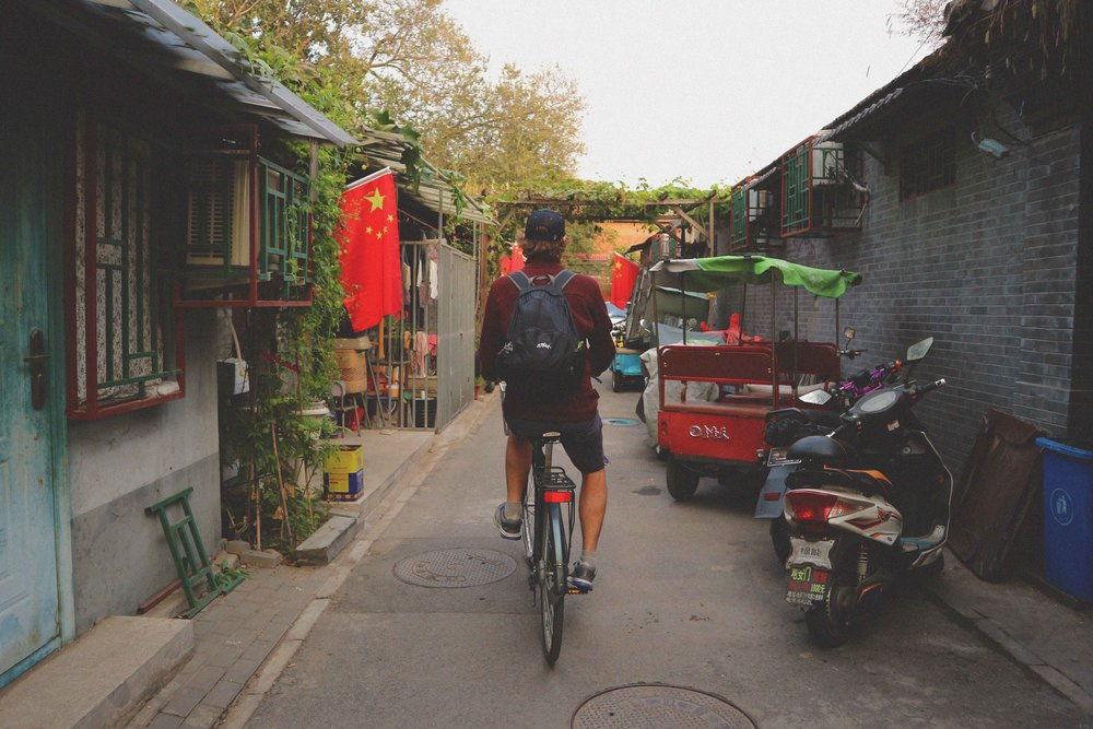 Exploring the many hutong (alleyways) by bike