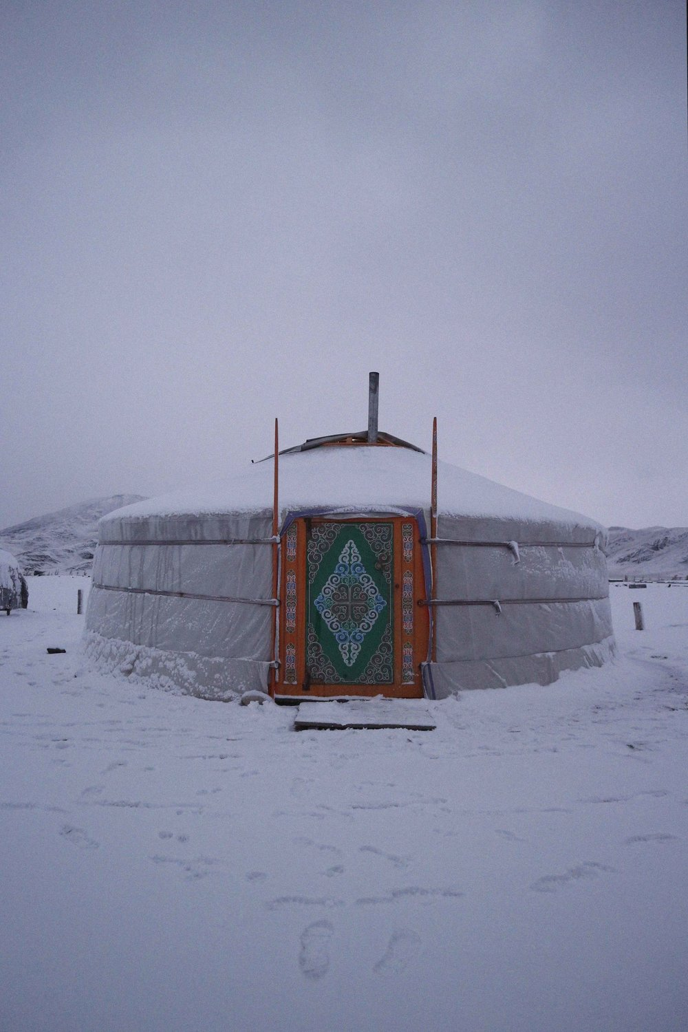Snowy ger Mongolia