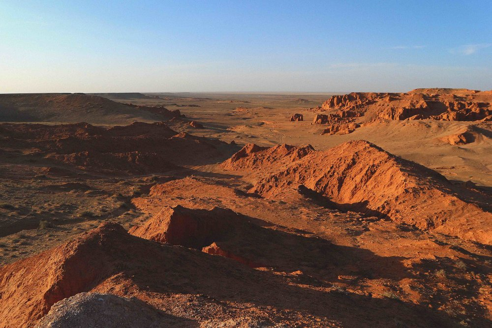 Flaming cliffs in the Gobi desert Mongolia