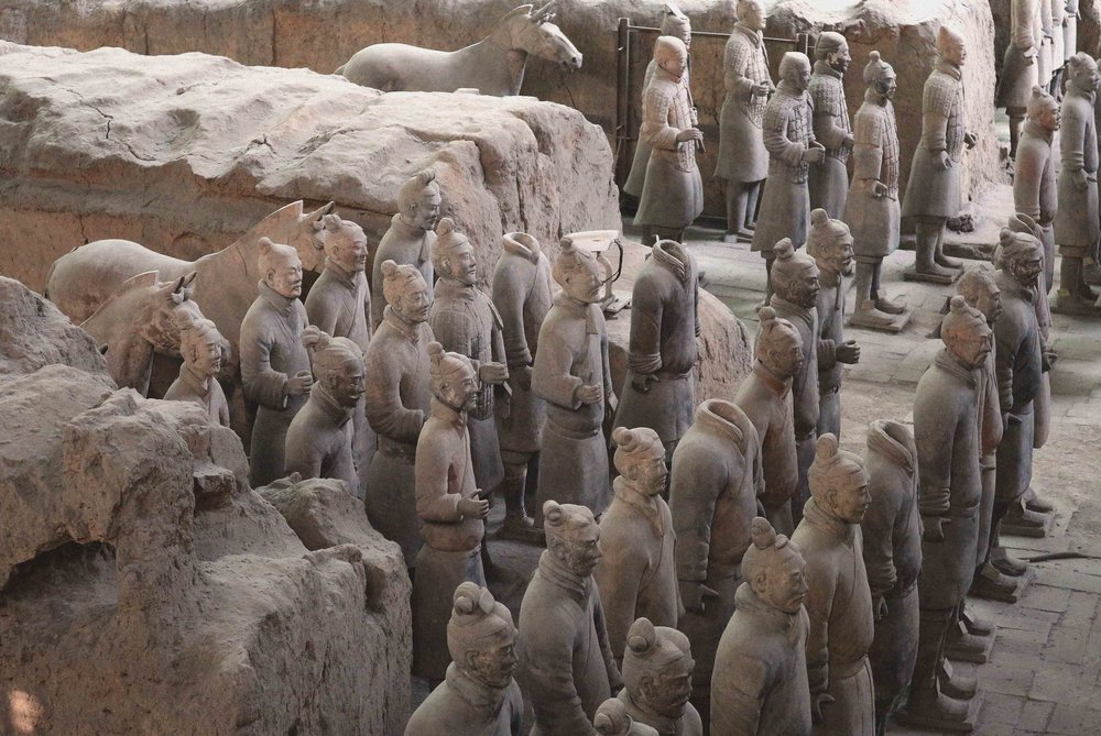 The terracotta warriors guarding the Emperor