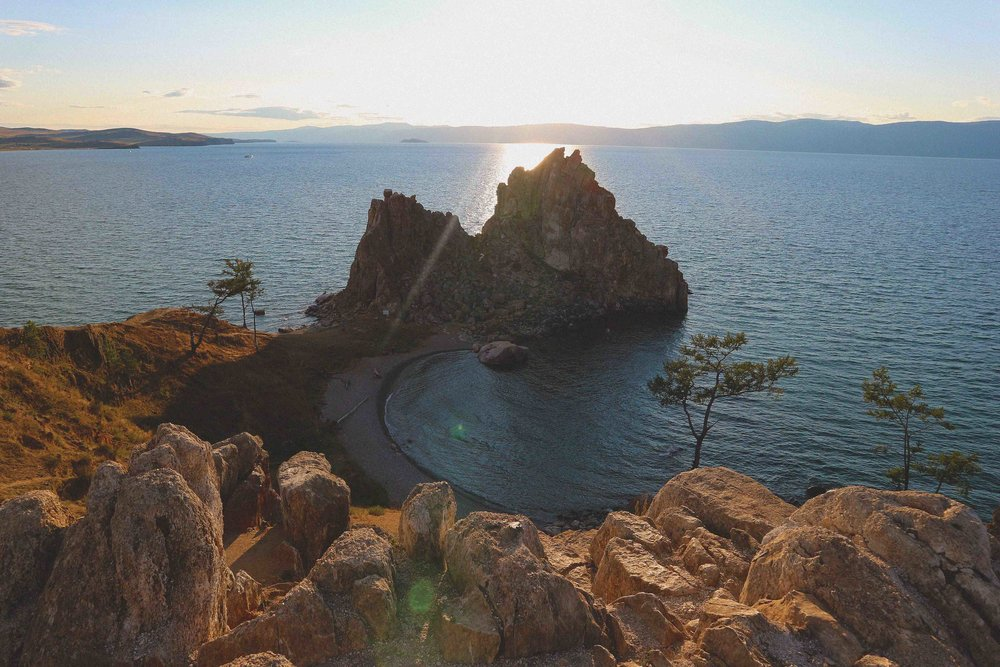 Shamanic rock on Lake Baikal, Siberia, Russia