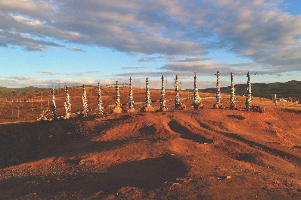 Shamanic poles on Orkhon Island (Lake Baikal), Siberia, Russia