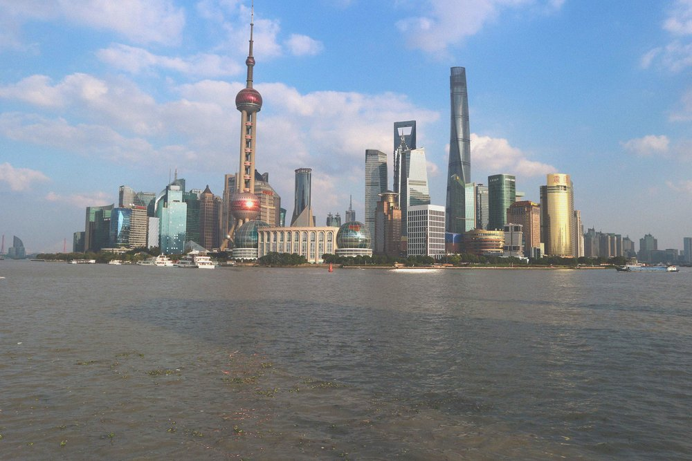 The futuristic Pudong skyline