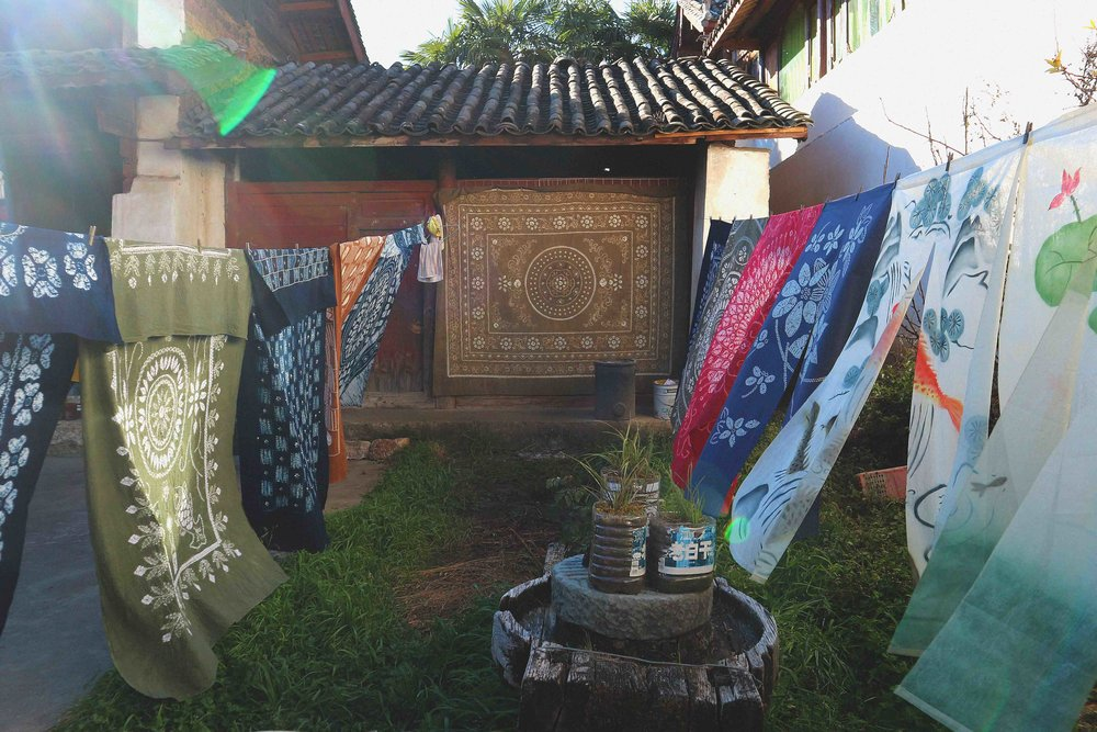 Tie dyed fabric for sale, hand produced by the Bai minority in Baisha