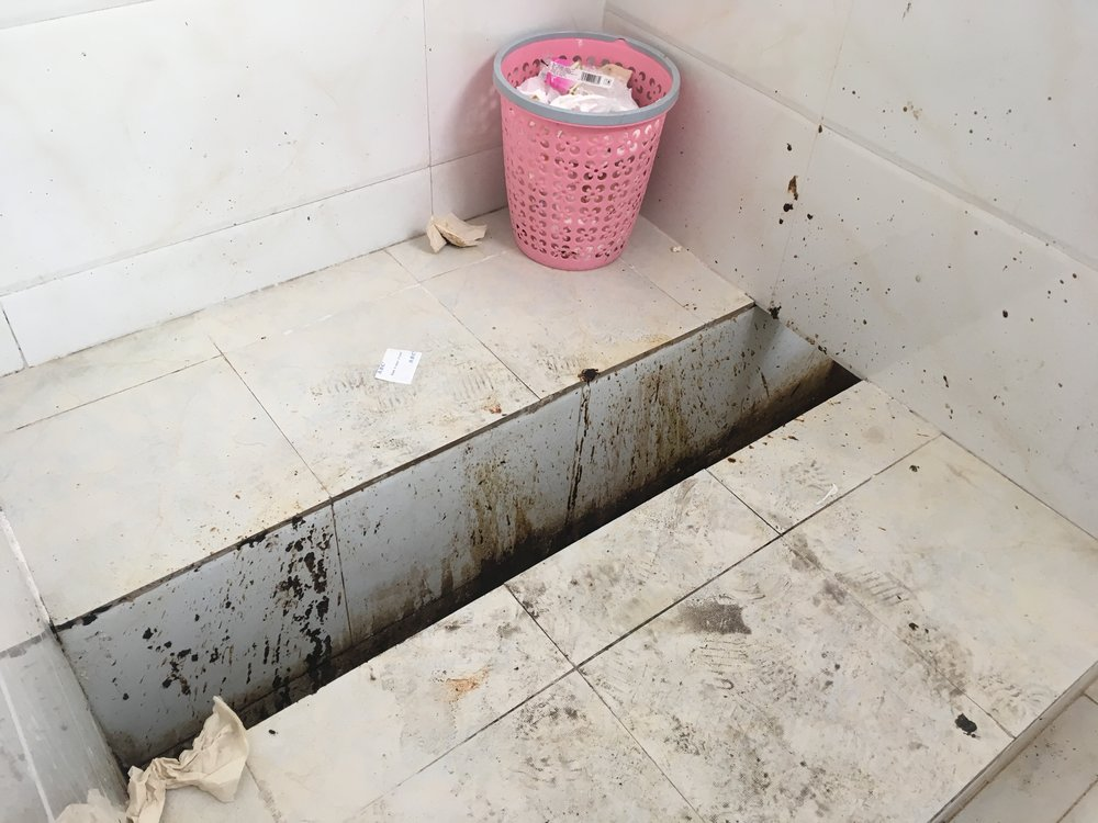 A Chinese trough toilet at the 'service station'