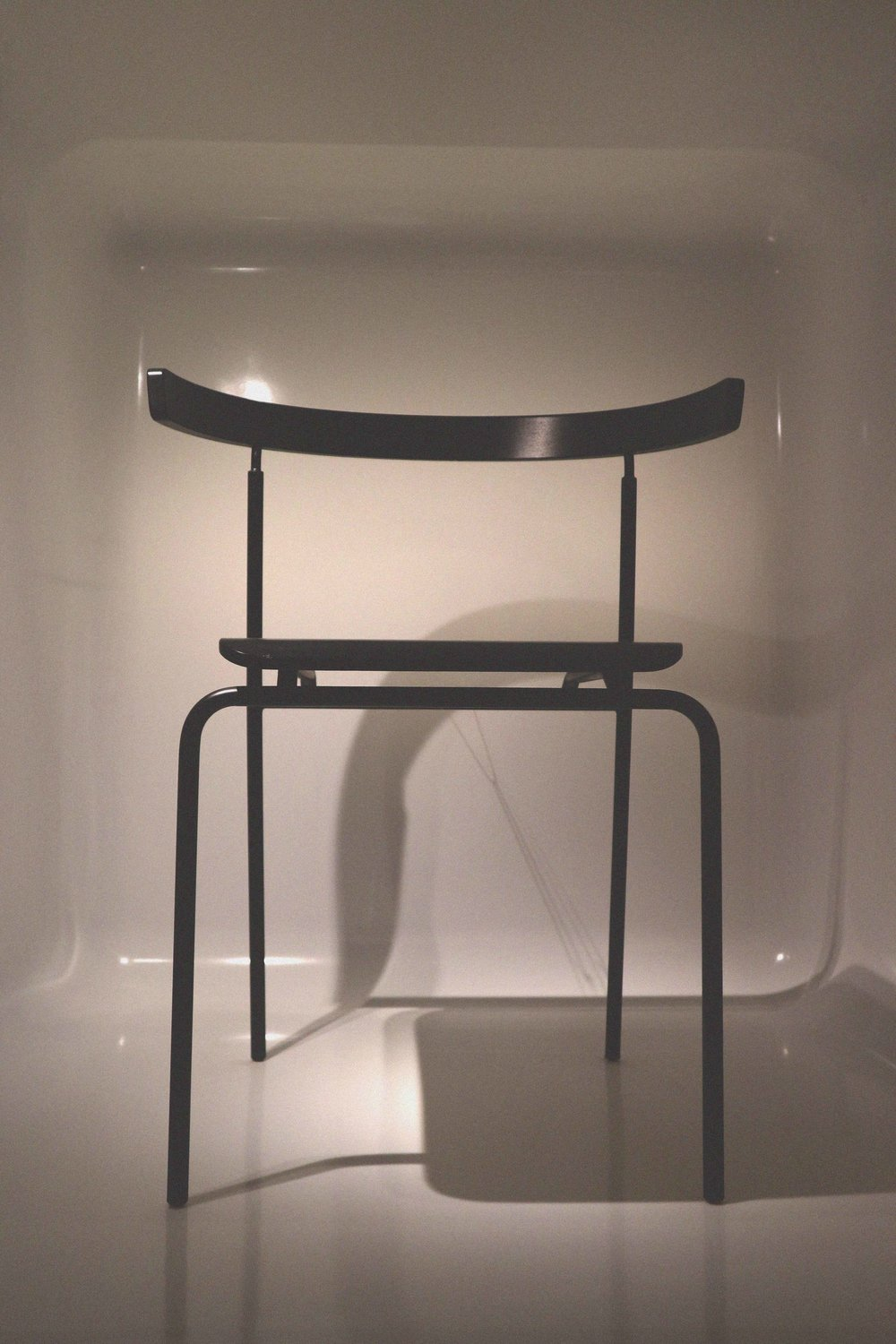 This one is pretty sleek and slender, the work of designer Jorgen Gammelgaard, a simple black shape made from lines, named Chair no.10.
