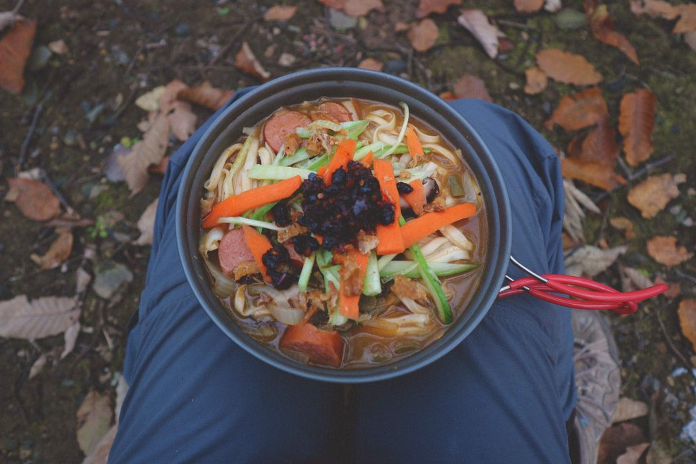 Chinese noodles rustled up on the camping stove