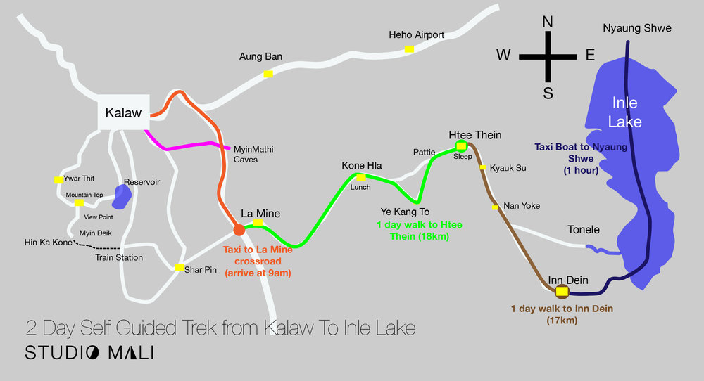 2 Day Self Guided Trek from Kalaw To Inle Lake