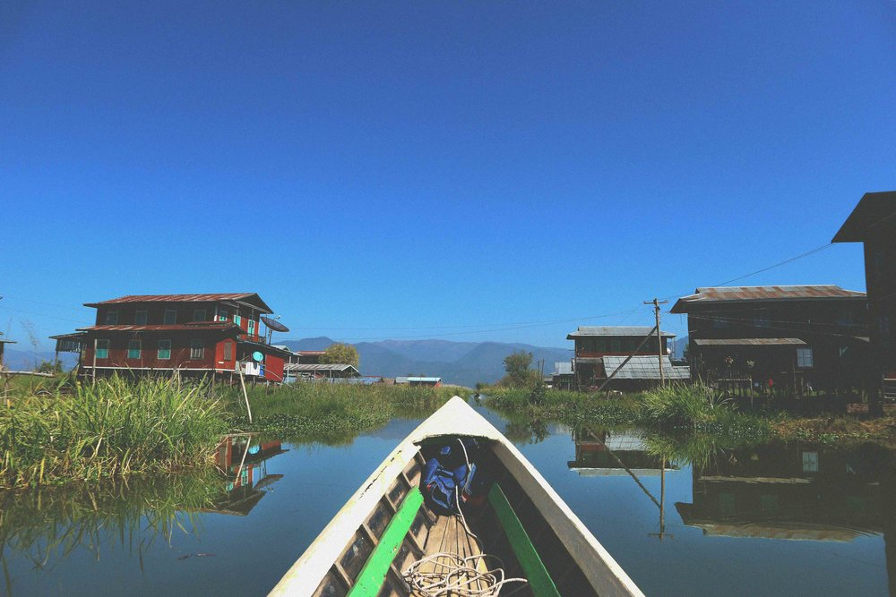Speeding along on a boat on Inle Lake