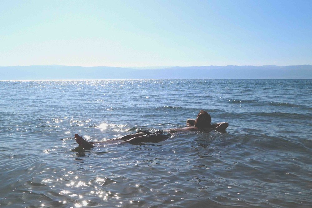 Mark floating in the Dead Sea