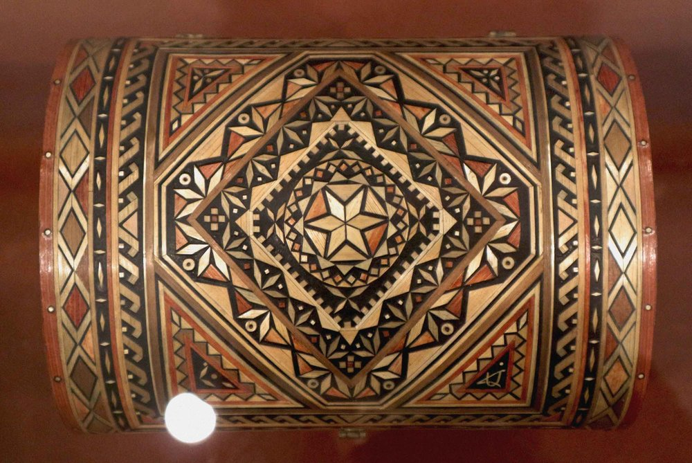Intricate wooden inlays and other handicrafts