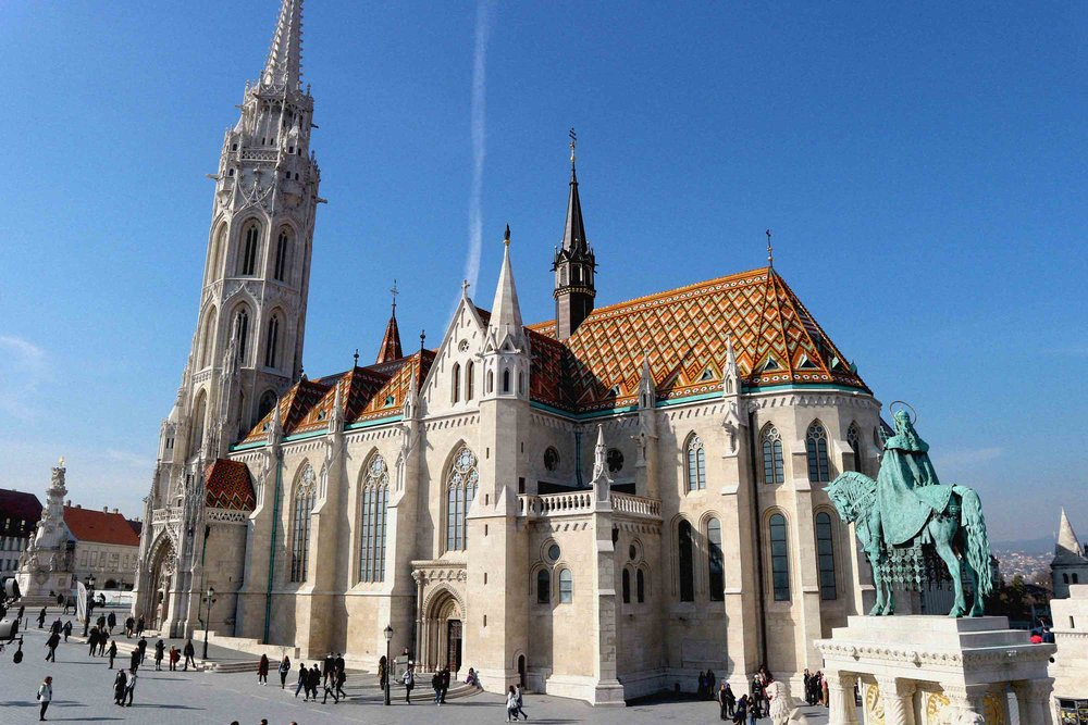The colourful tiled roof of St Matthias Church on Castle Hill
