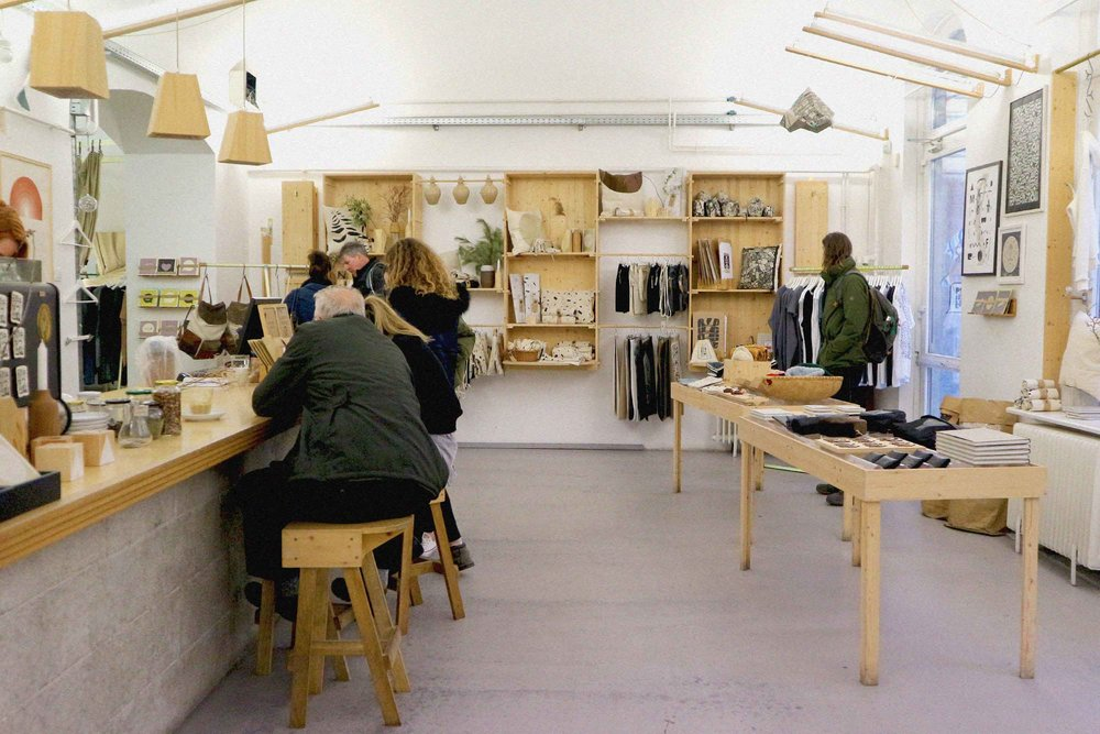 Inside concept store Printa with its plywood fittings