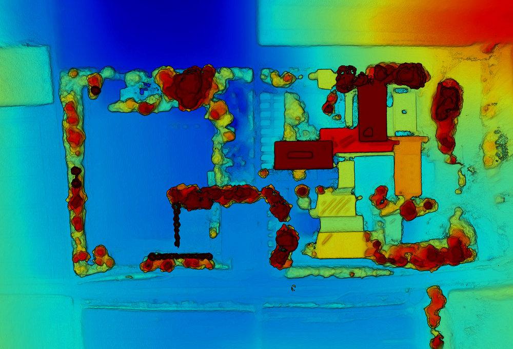 Höhenkarten - Basierend auf den aus der Luft gesammelt Bildsätzen können zudem präzise Höhenkarten erstellt werden. (Tiefblau ist der niedrigste, Dunkelrot der höchste Punkt des vermessenen Areals.)