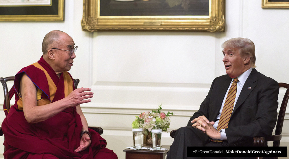 Donald listening and learning with his holiness the Dalai Lama as they discuss how all beings, including Donald, deserve happiness, abundance and love.
