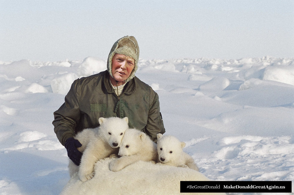 "A recent trip to the far-north to meet with climate change scientists gave Donald an opportunity to meet some of his furrier fans. ""OMG these rascals are CUTE!"" said POTUS. We agree ."