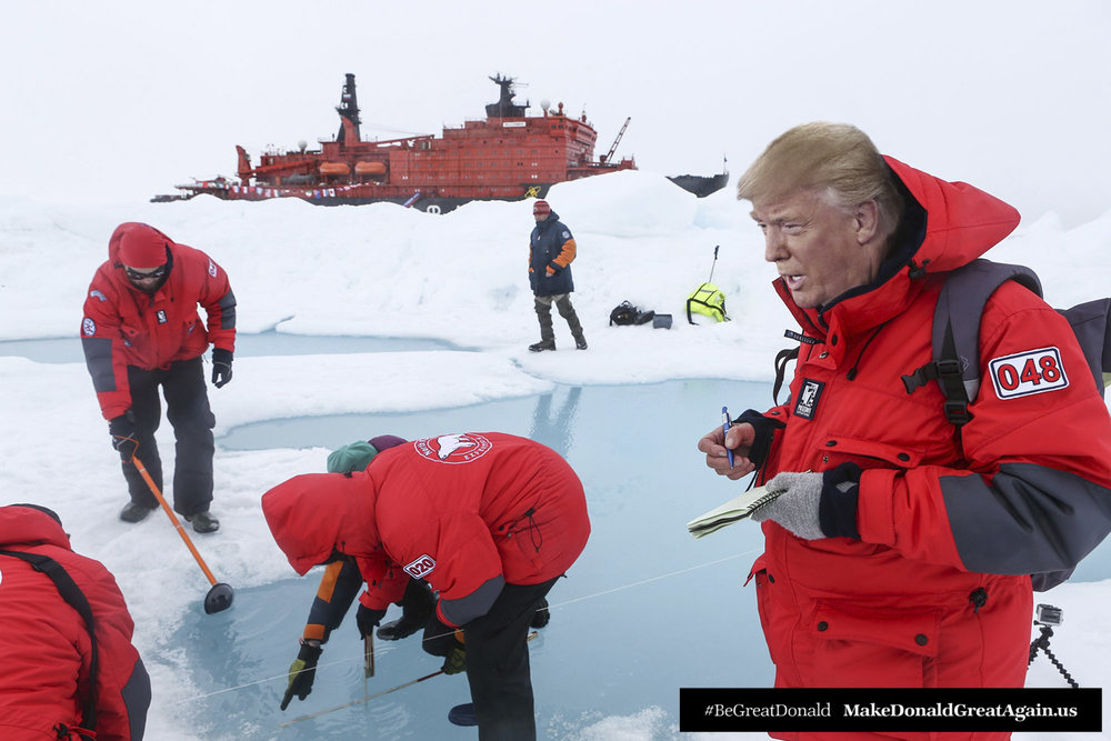 "Donald helps climate-change scientists as they monitor and record the situ. ""We're doing what we can, the first step is facing reality. I'm doing that now."""